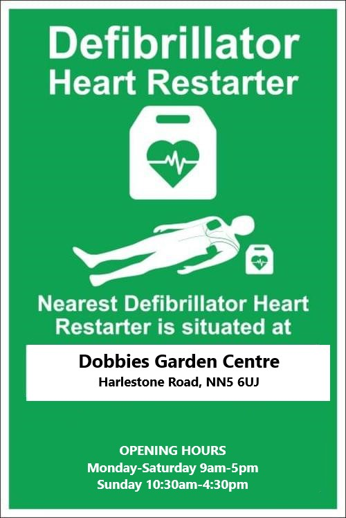 Defibrillator location Dobbies Garden Centre Harlestone road NN5 6UJ